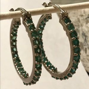 Sterling Silver & Emerald Infinity Hoop Earrings